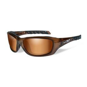 Wiley X Gravity Sunglasses Brown With Flash Bronze / Crimson Brown Lens